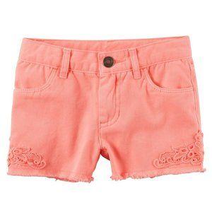 Carter's Frayed Hem Cotton Lace Twill Shorts 18M